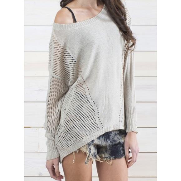 eeaf05d890e L S Beige Mixed Crochet Stitch REHAB Sweater